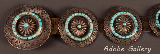 Alternate view showing a close up of 3 conchos including the larger buckle