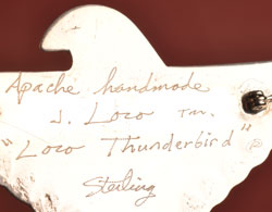 Artist Signature of Jan Loco, Apache Jeweler