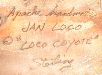 Artist Signature by Jan Loco, Apache Jeweler
