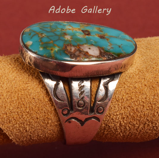 Alternate view of the side of this ring to show stampwork.