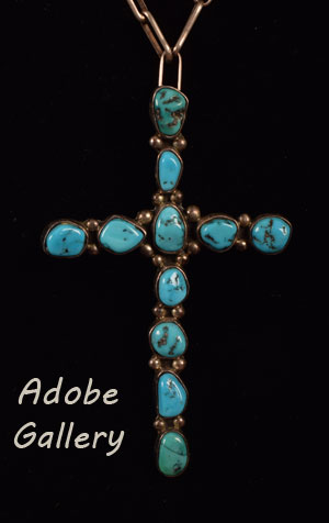 Close up view of the turquoise cross.