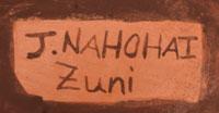 Signature of Josephine Nahohai , Zuni Pueblo Potter