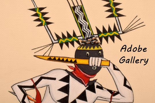 Pair of Apache Gaan Dancer Paintings by Ignatius Palmer