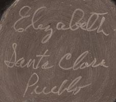 Artist Signature of Elizabeth Naranjo, Santa Clara Pueblo Potter