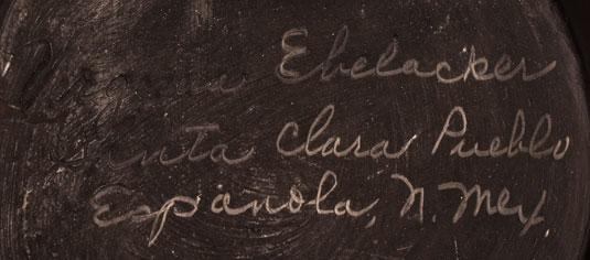 Artist Signature of Virginia Ebelacker, Santa Clara Pueblo Potter