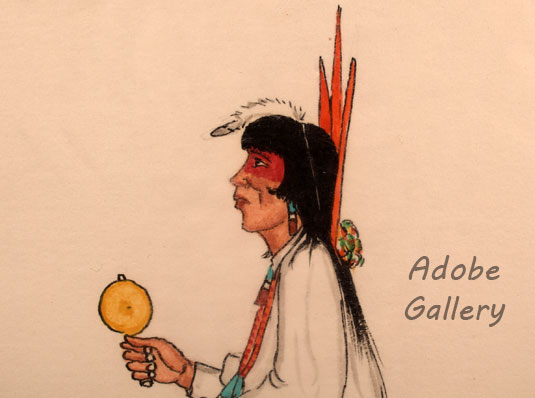 Alternate close up view of the face off this Pueblo dancer.