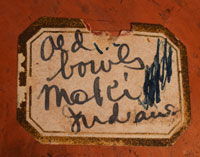 """There is an old paper label attached to the underside that states """"Old bowl Moki Indians."""""""