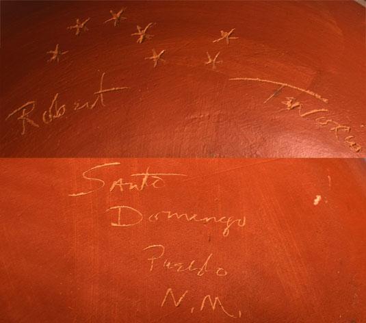 Artist Signature of Robert Tenorio, Kewa Pueblo Potter