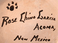 Artist signature and hallmark of Rose Chino Garcia (1928-2000) Acoma Pueblo Potter