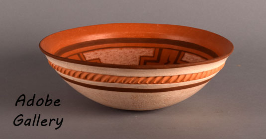 Alternate side view of this pottery bowl.