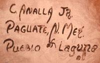 Artist Signature of Calvin Analla Jr., Laguna Pueblo Potter