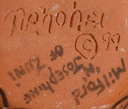Artist signatures of Milford and Josephine Nahohai, Zuni Pueblo Potters