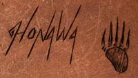 Artist signature and hallmark of Jerry Honawa, Hopi Artisan