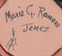 Artist Signature and hallmark of Marie Gachupin Romero, Jemez Pueblo Potter