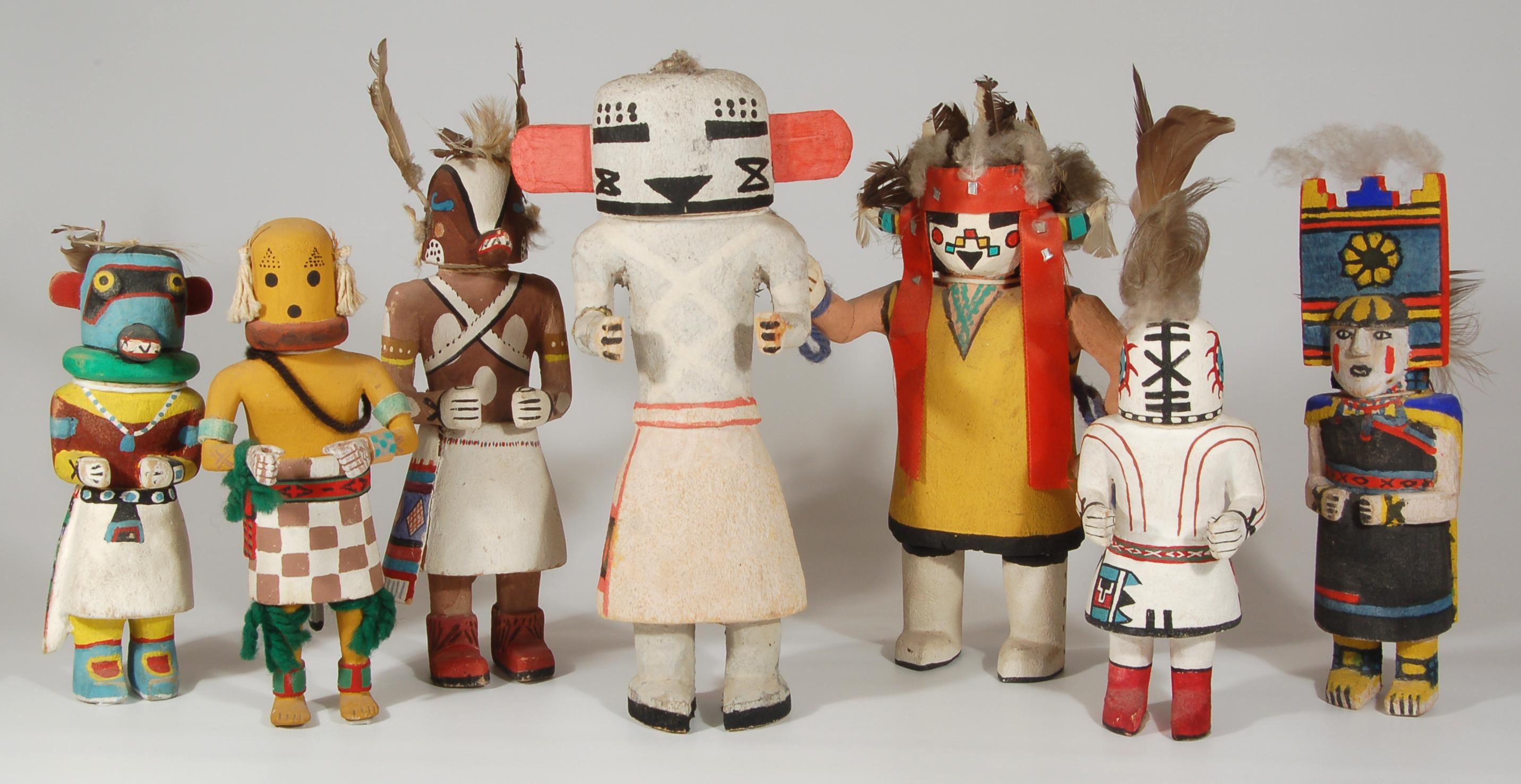 An Assortment of Traditional Hopi Katsina Dolls