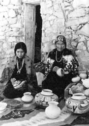 The image shows Nampeyo of Hano on the right with her daughter Fannie on the left - ca. 1930, courtesy of Rick Dillingham Fourteen Families In Pueblo Pottery.
