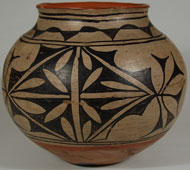 Tesuque Pueblo Polychrome Olla with Red Rim