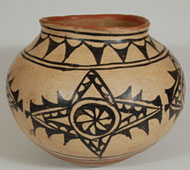 San Ildefonso Pueblo Polychrome Jar with Red Rim