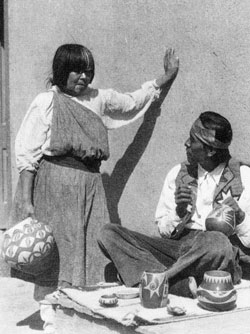 Artist photo image of Susana and Joe Aguilar courtesy of Gregory Schaaf, Pueblo Indian Pottery, 750 Artist Biographies, page 156.