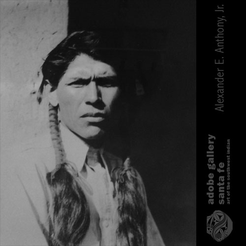 Abel Sanchez (1899-1971) Oqwa Pi - Red Cloud. Image of Abel Sanchez courtesy Russell Sanchez.  Copyright Adobe Gallery.  Do not copy or reproduce without permission.