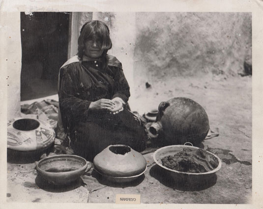 Image: We are appreciative to Hopi-Tewa potter, Mark Tahbo, for sharing this photograph with us. The photograph was recently found in a burned out home at First Mesa.  This image was later identified as having been taken on July 8, 1913, by photographer Joseph K. Dixon. It is part of the Wanamaker Collection of American Indian Photographs at the Mathers Museum of World Cultures, Indiana University, catalog #1962-08-3279.