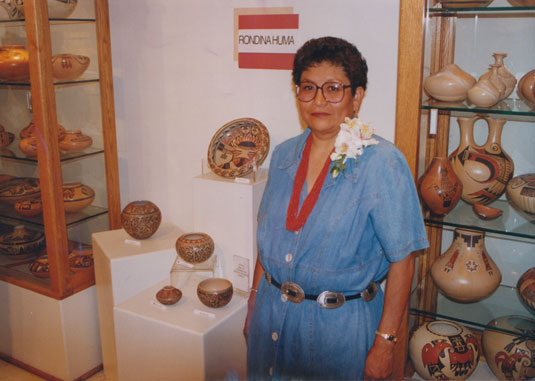 Artist image source from original August 1977 photograph of Rondina Huma, Hopi Pueblo Potter