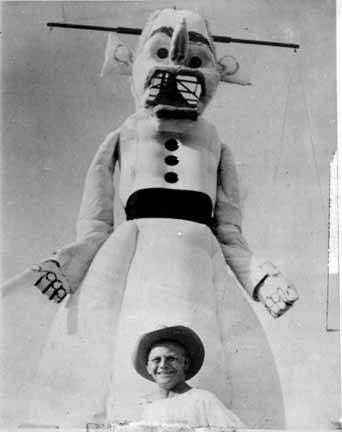 The man and the myth: Artist Will Shuster with the 1942 version of his creation - Will Shuster - Southwest Artist  - Image from Public Domain